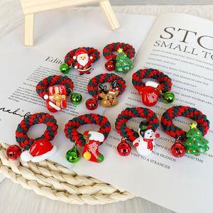 DHL Shipping Hair Scrunchies Santa Claus Baby Girls Hair Tie Ponytail Holders Elastic Ties Ropes Christmas Hair Accessories Kimter-B279F