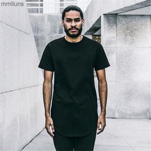 Büyük Tall 7 ve Renkler Giyim Tasarımcısı Erkek Citi Trendleri Giysileri Homme Kavisli Hem Tee Düz Beyaz Genişletilmiş T Gömlek