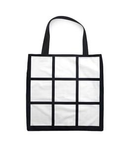 Sublimation Grid handbag Tote Bag Blank White DIY Heat Transfer Shopping Bag 9 Panels Cloth Reusable Storage Gift Bag Handbag 8833