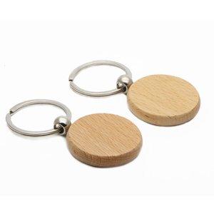 Chaîne vierge 50x cercle 1.57 '' Keychains en bois Nom pas cher Nom personnalisé porte-clés # KW01Y Livraison gratuite