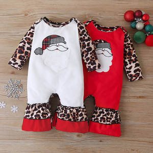 2Color 2020 Christmas baby romper cotton leopard girls rompers long sleeve Infant jumpsuit baby onesies baby girls clothes B3380
