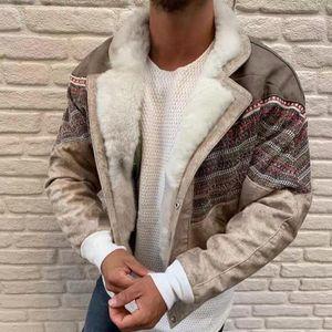 2020 Suede Stitching Fur Coat Color Block Lapel Long Sleeve Fleece Buttons Coats Jackets Winter Warm patchwork Outwear