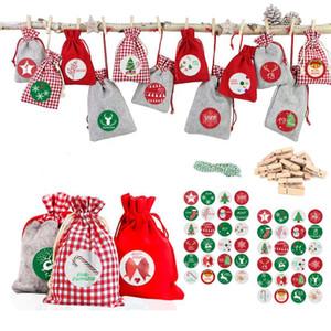DHL Free Ship 24pcs set Christmas hanging bag 1-24 countdown Santa Claus Christmas Decorations Supplies DWE3145