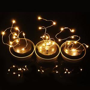 Solar Powered LED Mason Jars Light Up Lid 10 LED String Fairy Star Lights Screw Silver Lids Glass Jars Christmas Garden Lights HHE2893