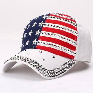 HT2546 New Trump 2020 Hat USA Flag Baseball Cap Men Women Snapback Hats Unisex Casual Trump Snapback Cap Rivet Dad Baseball Hat F1208