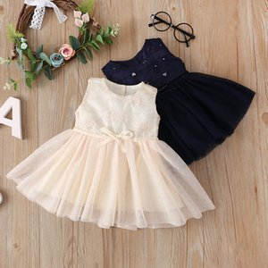 2020 Summer Toddler Cute Kids Baby Girl Sleeveless Princess Party Pageant Wedding Tulle Dress One-Pieces Girls