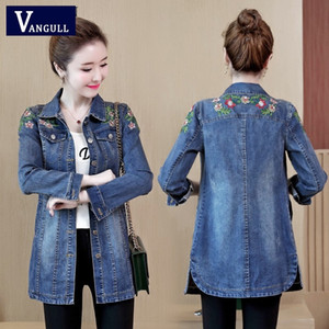 Vangull 5XL Floral Embroidery Denim Jacket Spring Autumn New Female Slim Med-long Turn Down Collar Long Sleeve Jeans Coat Y201012
