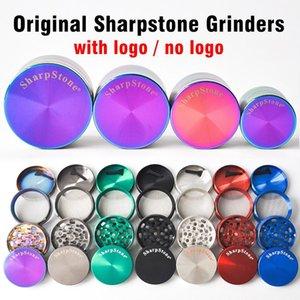 DHL free 40mm 50mm 55mm 63mm 4 parts SharpStone Tobacco Grinder herb grinder cnc teeth filter net dry herb vaporizer pen 7 colors NWD2958
