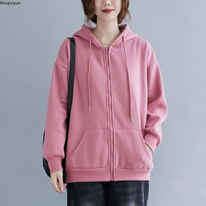 Plus Size Women Hoodies Sweatshirt Cotton Tops Basic Full Sleeve Casual Winter O-Neck New Solid 2020 Pullover S3595