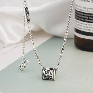 s925 sterling silver necklace retro abacus gold Harajuku style tassel pendant personality fashion wild temperament jewelry female gift