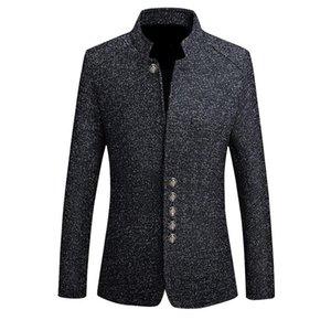 2020 Brand Mens Vintage Blazer Coats Chinese Style Business Dress Blazers Casual Stand Collar Jackets Male Slim Fit Suit Jacket