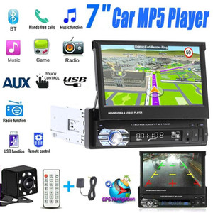 7'' Car Stereo audio Radio GPS Navigation Retractable autoradio with BT DVD MP5 SD FM USB Player Rear View Camera