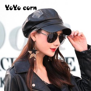 Fashion Solid color Octagonal Cap Hats Female Autumn Winter Leather Panama Stylish Artist Painter Newsboy Caps Beret Woman hat