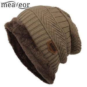 Meaneor Women Men Fleece Caps Fashion Contrast Color Beanie Knitted Winter Autumn Hat Warmer Winter Bonnet Hats for Chirsmas