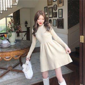 JoinYouth Autumn Winter Sweater Dress Women A-line Solid High Waist Knitted Vestidos Elegant Korean Mini Dresses J