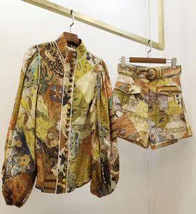 2020 PRIMAVERA Y VERANO NUEVO estilo Retro Palacio de Lino Camisa impresa, Cintura Traje de moda corta Mujeres