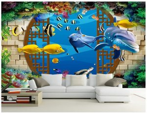 3D wallpaper custom 3d wall murals wallpaper landscape underwater world window dolphin background wall painting1