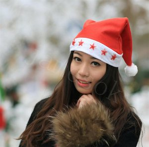 LED Christmas Hat Beanie Xmas Party Hat Glowing Luminous Led Red Flashing Star Santa Hat For Adult DB315