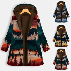 2021 winter new hood print long-sleeved cotton coat plus thick women jacket medium long loose cotton coat woman
