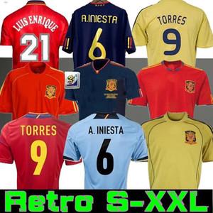 Final 2010 Espagne Retro Jersey 1994 Raul Xavi Hierro Luis Ensrique Xavi Alonso Caminero Iniesta Puyol Pique David Villa Torres 2008 2012 1996