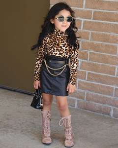 Ins Kinder Frühling Fall Outfits Mädchen Leopard High Collar Langarm T-Shirt + Rüschen Hohe Taille Röcke 2pcs Lady Style Kind Sets A5267ren