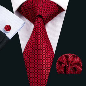 Red Mens Necktie Classic Silk Tie Sets Checks Tie for Men Tie Hanky Cufflinks Jacquard Woven Meeting Business Wedding Party N-1573