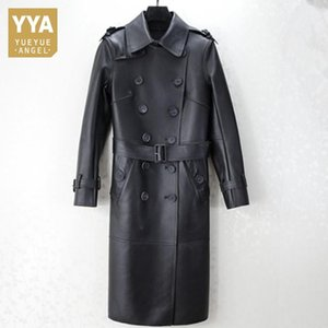 Brand Slim Sheepskin Overcoat Female Street 100% Real Leather Long Jacket Elegant Sashes Double Breasted Office Windbreakers