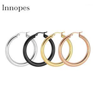 Innopes cerchia orecchini a cerchio esagerato acciaio inox grande orecchini liscio partito round loop per le donne gioielli1