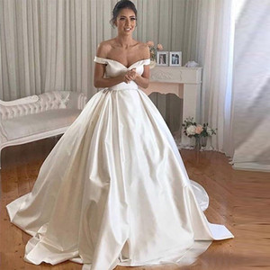 Elegant Off Shoulder Ball Gown Wedding Dresses Sweep Train Simple Design Pleats Sexy V Neck Satin Formal Bridal Gowns Vestido De Novia