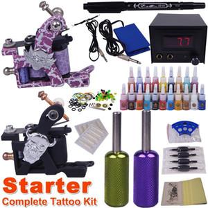 cheap beginner tattoo kits 2 guns make up permanent tatoo machine kit complete tattoo machine set