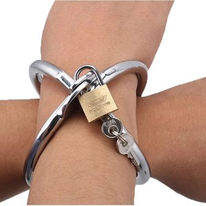 Stainless Steel Cross Wrist Handcuffs SM Bondage Adult Games Lockable Fetish Restraint Sex Toys 2 Sizes for Women Adult Products Y201118