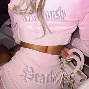 Fashion Rhinestone Letter Casual Two Pieces Set Women Zip Up Cropped Hoodies Coat And Atheleisure Sweat Pants Tracksuit