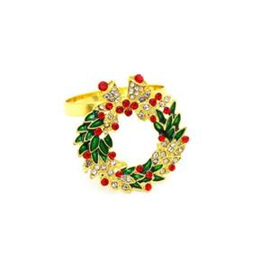 Christmas decoration accessories napkin buckle wreath diamond napkin ring paper green 4.5cm