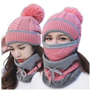 Woolen Hats Ladies Plus Velvet Hats Mask Bib 3 Pieces Set Thick Warm Knitted Parent-Child Hats Free shipping