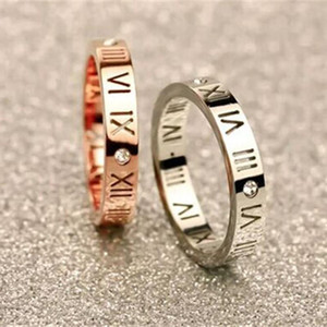 Women Titanium Steel Jewelry Roman Numerals Rings For Women CZ Crystals Rings Trendy Party Love Ring Couple R006