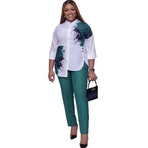 2 Piece Set Women Slim Solid Pants And 3 4 Sleeve Stand Collar Split Top 2020 Fashion Print Irregular Office Lady Suit Outfits