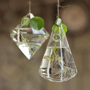 Hanging Glass Vase Flower Container Garden Terrarium Planter Clear Plant Decor