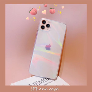 Gradient Rainbow Laser Cases Transparent Soft Fundas Female For iPhone 11 XR 6S 7 8 Plus X Xs Max Clear Acrylic Covers Personality
