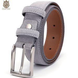 Mente terrestre Luxo Genuine Camurça de couro de camurça para homens Masculino com vintage escovado níquel pin fivela 90-130cm 201123