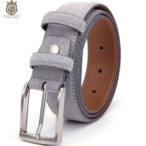 Ground Mind Luxury Genuine Cintura in pelle scamosciata in pelle scamosciata per uomo maschio con fibbia per pin in nichel spazzolato vintage 90-130 cm 201123