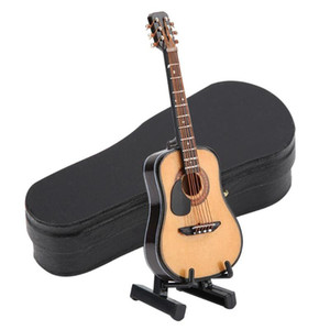 10 16cm Wooden Electric Guitar Model With Display Stand Dolls House Miniature Musical Instruments Ornament Toys