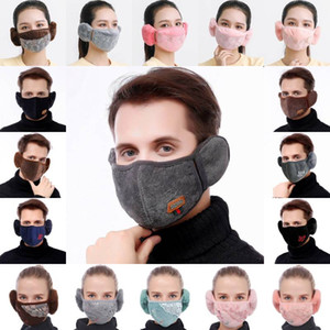DHL Shipping Earmuff Mouth Cover Breathable Protection Mask Face Covering with Earflap Winter Warmer Cycling Masks 36 Styles Kimter-L882FA
