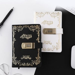 A5 B6 Password Notebook Retro with Lock Notebooks PU Leather Lock Diary Traveler Notepad Journal Planner School Stationery Gifts