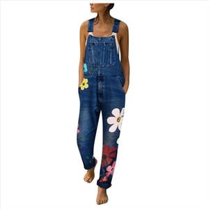 Pantalon Bib Jumpseau à fleurs Blue Jeans Blue Romper pour Femmes Fashion Denim Bib Pants Sexy Longs Rompers Combinaisons 2019 Nouveau
