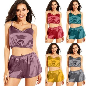 Satin Tracksuit Women Two Piece Set Summer Clothes Pajamas Suits Sexy Spaghetti Strap Crop Shorts Sleepwear Ladies Club Outfits1