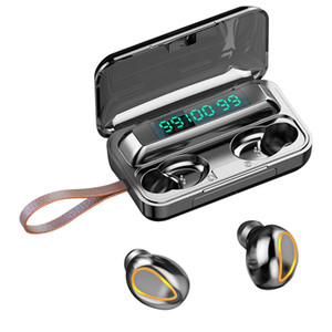 F9 TWS Wireless Earphones Bluetooth Headphones with Lanyard LED Digital Display Sports Stereo Wireless Headset with Retail Box