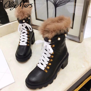Ollymurs New Genuine Leather Platform Boots Women Pearl Beads Fur Thick heel Ankle Boots Botas Mujer 201031