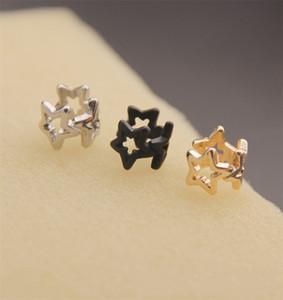 Pentagrama oreja clip clip de mujer hueco de cierre platillo plateado chapado en oro pendientes joyería pendientes simplicidad negro 1 1lx l2