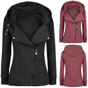 Женщины стоят воротник молния старинные пиджаки пальто мода с длинным рукавом плюшевые толщевые толстовки зима плюс размер ветробоку