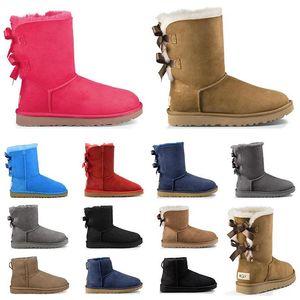 رخيصة النساء الثلوج الأحذية الثلاثي الأسود الكستناء الوردي البحرية الأزرق رمادي الأزياء الكلاسيكية الكاحل قصيرة التمهيد المرأة الشتاء الجوارب الأحذية حجم 5-10